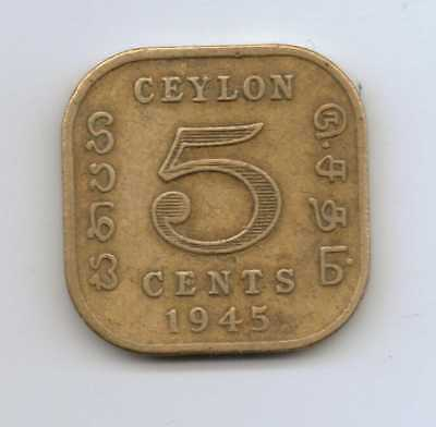 CEYLON - 5 Cents - George VI 1945 Nickel-brass – 3.85 g – ø 18 mm