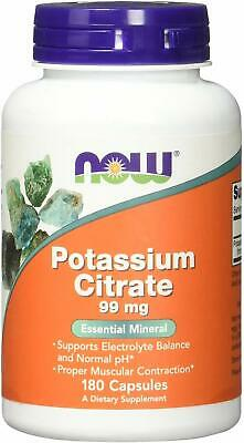 NOW Potassium Citrate 99 mg | Dietary Supplement - 180 Veg Capsules