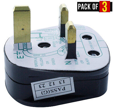 UK 3-Pn Mains Plug with 5A Built-In Fuse 5A Fused With Shrouded Pins - Pack of 3