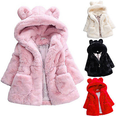 Kids Girls Rabbit Ear Faux Fur Jacket Thicken Coat Hooded Winter Warm Cute Tops