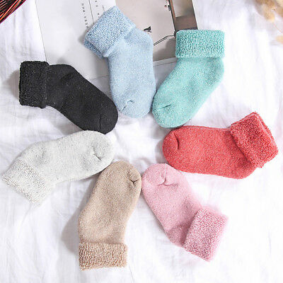 Uk_ Toddler Baby Boy Girl Solid Color Winter Thicken Stretchy Thermal Socks Supe