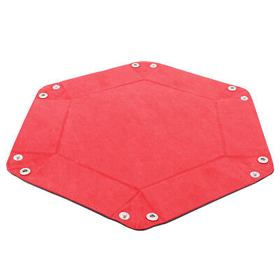 Red Double Sided Dice Tray Folding Rectangle PU Leather and Burgundy Velvet Z