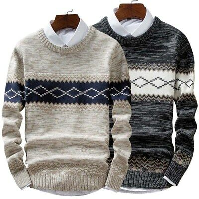 Mens Casual Round Neck Fashion Knit Sweater Pullover Knitwear Jumper Coat Tops