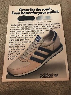 Vintage 1981 ADIDAS BOSTON Running Shoes Poster Print Ad 1980s RARE