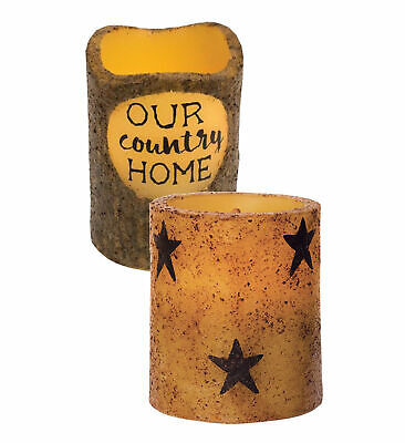 Mozlly CWI Gifts Our Country Home Flameless Rustic LED Pillar Candle and CWI Gif