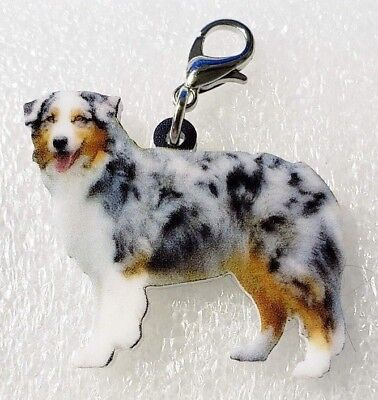 Australian Shepherd Standing Dog Acrylic Purse Charm Zipper Pull Jewelry