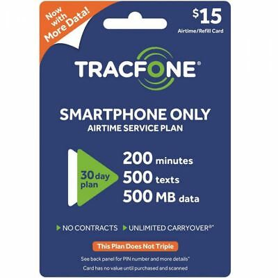 TracFone 200 Minute 500 Text 500 MB Data 30 Day Refill Card Smartphones Use Only