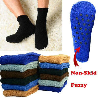 For Mens 3-10 Pairs Soft Cozy Fuzzy Socks With Non-Skid Solid Plain Home Slipper