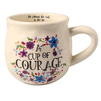 A Cup of Courage Ceramic Mug - She Believed She Could, So She Did on Inside