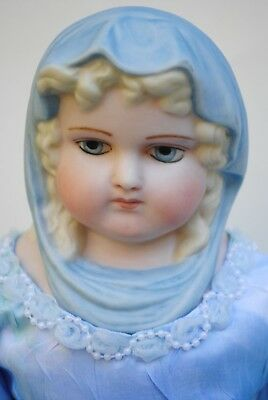 """Antique German Queen Louise Doll Blue Parian Scarf Lady 18"""" Reproduction Artist"""