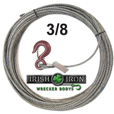 "3/8""X 75' Fiber Core Winch Cable Standand Hook Wire Rope.Cable.Wrecker,Rollback"