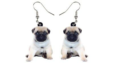 """Tan Pug Puppy Dog 1"""" Drop Dangle Acrylic Earrings Very Light Weight Gift Boxed"""