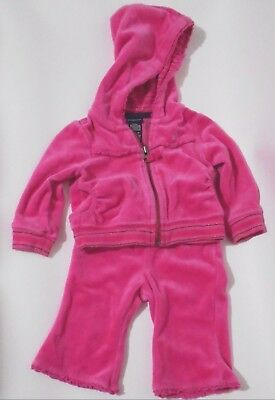 Baby Girl Nautica Track Suit Warm Up size 3/6 M Toddler Pink/ Black Silver