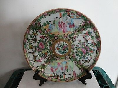 Late 19Th C Chinese Canton Famile Rose Plate/Dish