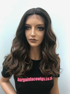 Synthetic Lace Front Wig Brown Ombre Wavy Lovely Sunkissed Highlights R-VALERIE