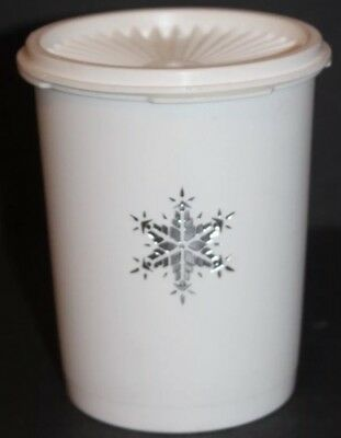 Vintage Tupperware White Canister Silver Snowflake Servalier and Lid Holiday V