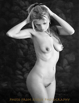 """Modern Nude Woman With Hydrangea 8.5x11"""" Photo Print Naked Female, Lovely B&W"""