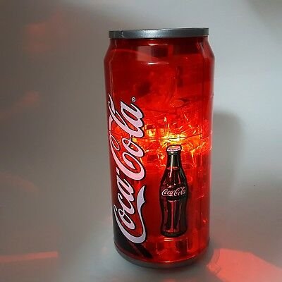"""Coca-Cola Can Automatic Coin Sorter Bank w Light 9"""" Red Plastic Battery Operated"""