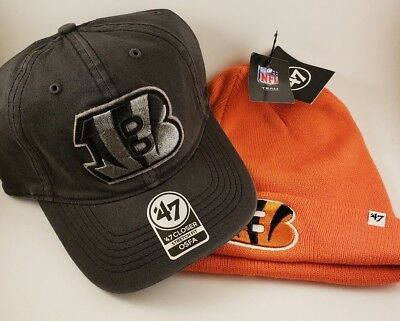 NWT Cincinnati Bengals Hat Cap Beanie OSFA COMBO NFL FOOTBALL Orange Black  47 1e29a77ba