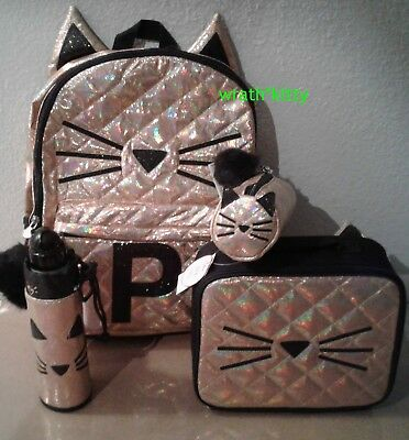 Justice CAT Initial P Quilted BACKPACK, LUNCH TOTE Pencil Pouch Water Bottle SET