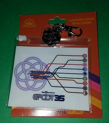 Disney Parks EPCOT 35 Lanyard Pouch with Charm Epcot 35th Anniversary Free Ship