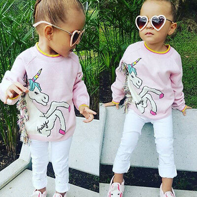 Toddler Baby Girls Autumn T-shirt Unicorn Sweatshirt Kids Clothes Tops Age 1-7Y