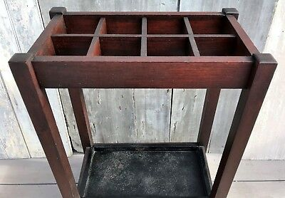 Antique Arts & Crafts Mission Oak Wood Umbrella Cane Stand w/ Iron Pan c. 1910