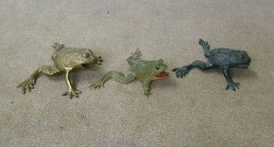 Frog figures 3 total Brass and rubber toads frogs Aquatic animals