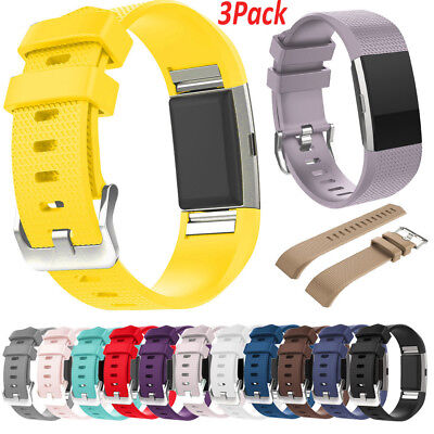 3 Pack Replacement Wristband for Fitbit Charge 2 Band Silicone Fitness Men Large