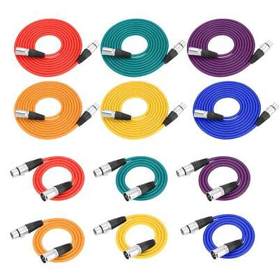 6Pcs Multicolor 3 Pin XLR Male to Female Audio Extension Cables for Microphone