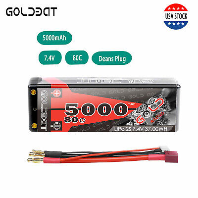 GOLDBAT 5000mAh 80C 7.4V 2S LiPo Battery Hardcase Deans Plug for RC Car Truck