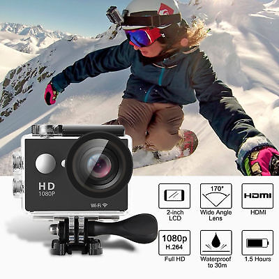 "AU_2019 Sports Camera 4K 16MP WiFi FHD 2.0"" LCD Underwater 170° Action Camcorder"