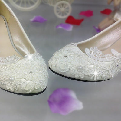 """Pump Formal Lace Low Flat/1""""/2""""/3"""" Heels Bling Prom Wedding Shoes High Bridal"""