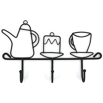 Wall Mounted Hooks Rack,11 Inches Iron 3 Kitchen Home Restaurant Keys Coats Cups