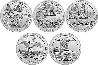 2018 US National Park Quarters Five Coins Uncirculated Straight from the US Mint