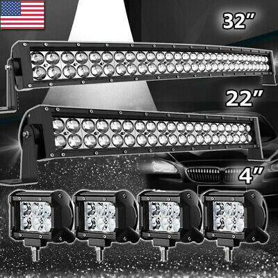 """52Inch LED Light Bar Curved + 20in Combo+4"""" PODS for Ford Jeep 4X4 Truck Offroad"""