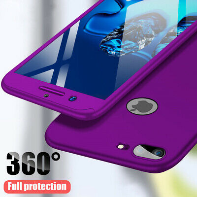 360° Full Protection Phone Case For iPhone X XR 7 8 Plus 6s+Tempered Glass Cover