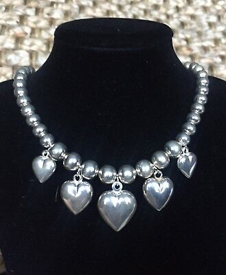 Vintage Heavy Large 925 Sterling Silver Puffy Heart Bead Necklace Made In Italy