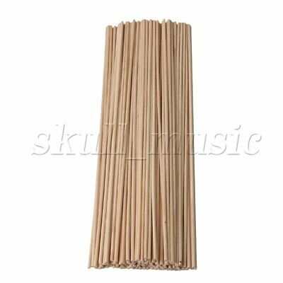 100pcs 3mm Dia Wooden Round Lolly Craft Sticks 300mm for Food & Woodworking
