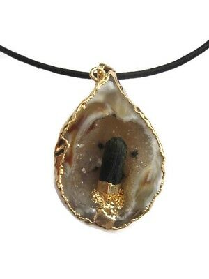 Raw Brazilian Black Tourmaline Point In Natural Geode Pendant with Cord Necklace