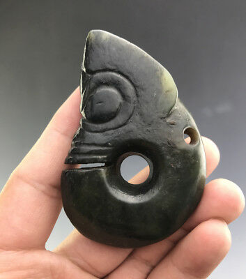 Unusual Chinese Ancient Hongshan Culture Jade Carved Pig Dragon Amulet Pendant