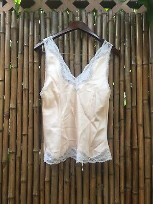 01fbd69a7 Vintage Christian Dior Silky Pink Lingerie Tank Cami Top Large Lace  Embroidered