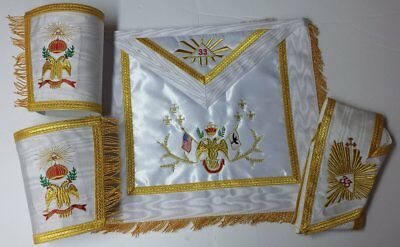 Masonic Rose Croix 33rd Degree Apron, Gauntlets and Collar Set Wing Down