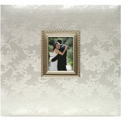 """20 Page Top Load 12""""x12"""" Floral Fabric Wedding Scrapbook Photo Album White Roses"""