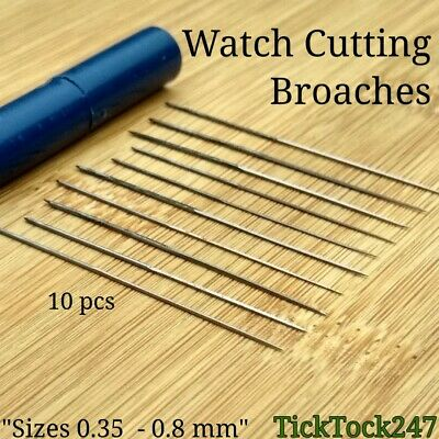 Watch Broaches x10 Enlarging Cutting Holes Hands & Movements Broach 0.35-0.8mm