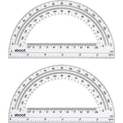 EBoot Plastic Protractor Math Protractors 180 Degrees, 6 Inches, Clear, Pack Of