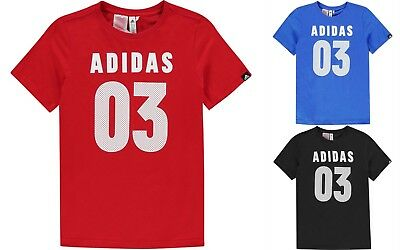 NEW adidas Kids Boys 03 T Shirt Junior Crew Neck Tee Top Short Sleeve Print 7-14