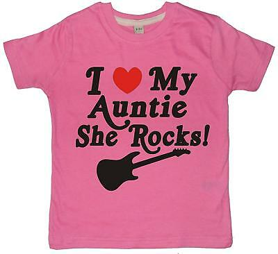 Bubblegum pink t-shirt with pearlescent black print 'I LOVE MY AUNTIE SHE ROCKS!