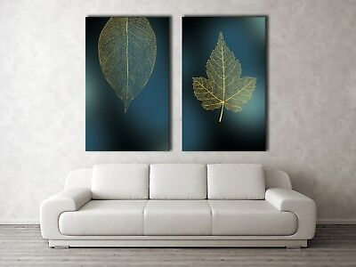Gold Leaf veins on Green Framed Canvas Print Abstract Dinning Room Wall Art