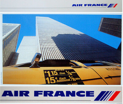 "1991 RARE Original ""AIR FRANCE"" Airlines TRAVEL POSTER America USA French PENNEL"